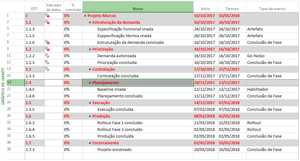 MS Project: Milestones